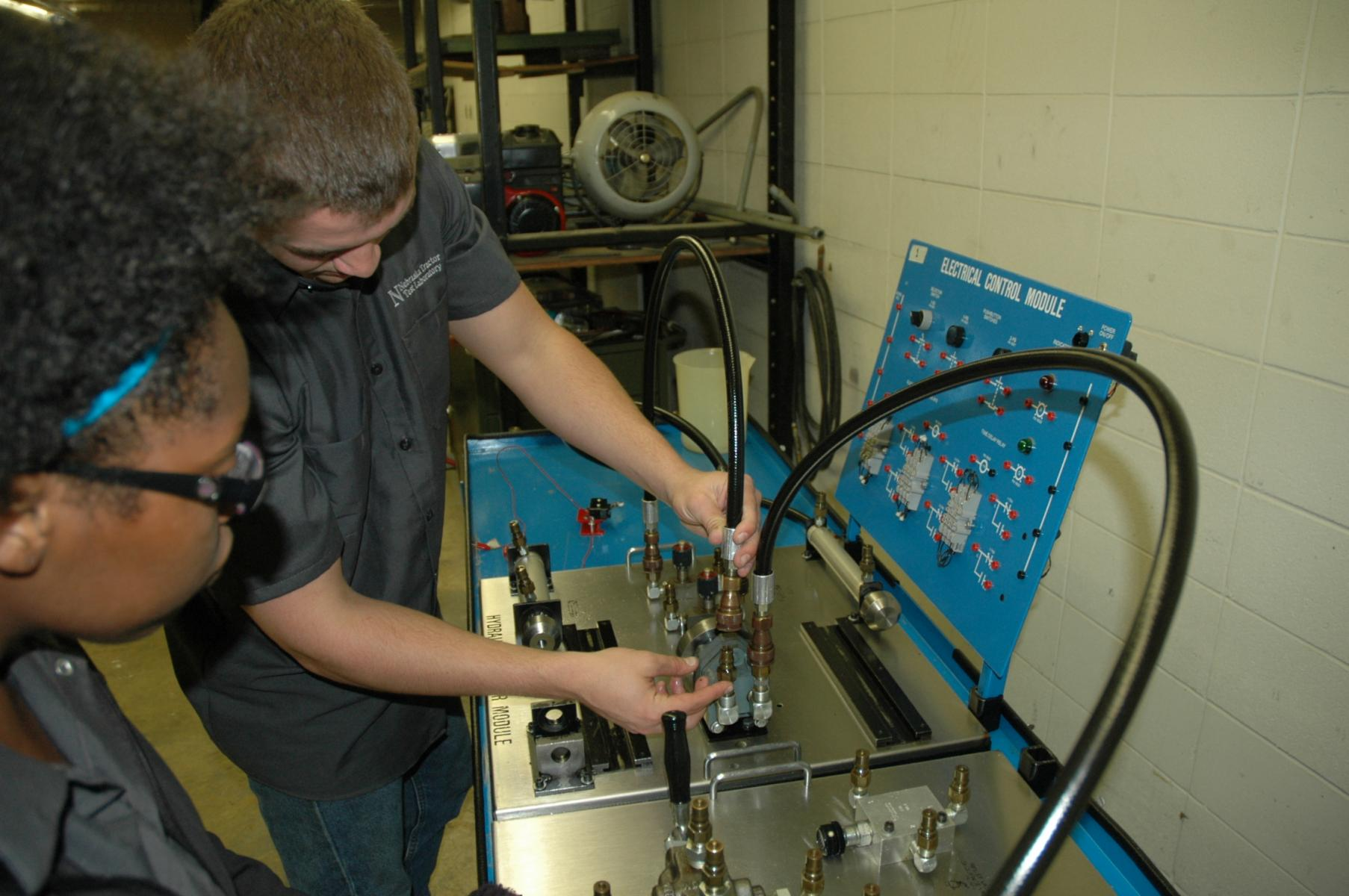 Students in hydraulics lab